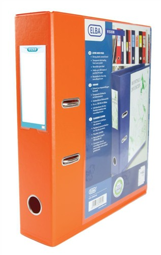 Elba Lever Arch File with Clear PVC Cover 70mm Spine A4 Orange Ref 100082439 [Pack 10]