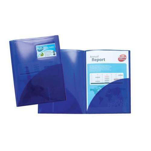 Snopake Elektra Twinfile Presentation Folder Polypropylene A4 Blue Ref 14032 [Pack 5]
