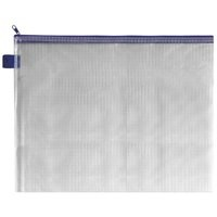 INDX Zip Pouch Reinforced Mesh-weave PVC Clear with Coloured Seal A4 Blue Ref ZPBLU [Pack 5]