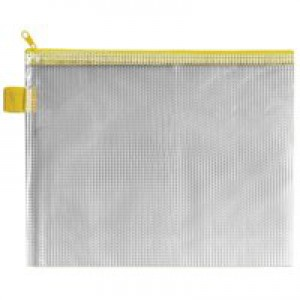 INDX Zip Pouch Reinforced Mesh-weave PVC Clear with Coloured Seal A5 Yellow Ref ZPYEL [Pack 5]