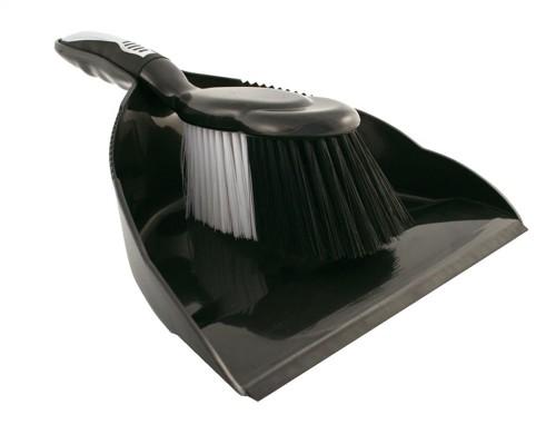 Bentley Dustpan and Brush Set Black and Chrome Ref HL8001/G