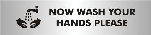 Wash Hands Sign Brushed Aluminium Acrylic 190x45mm