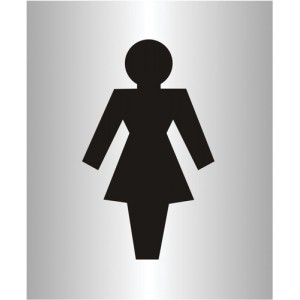 Ladies Logo Sign Brushed Aluminium Acrylic 150x115mm