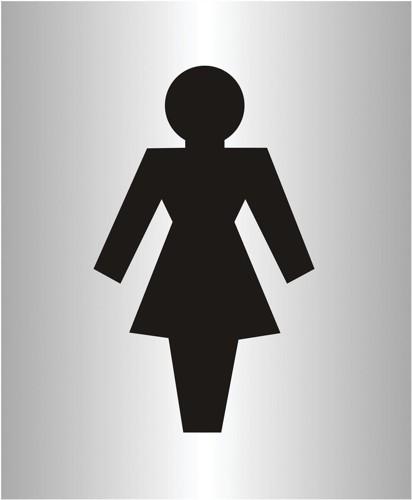 Ladies Logo Sign Brushed Aluminium Acrylic 150x115mm