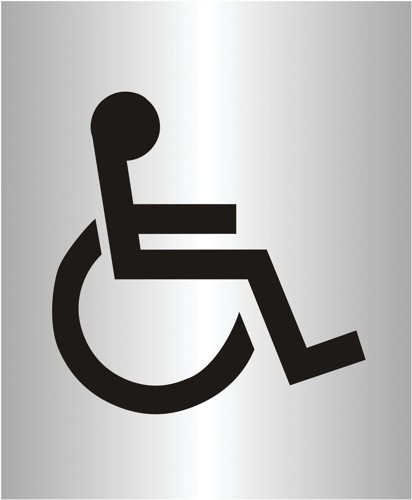 Disabled Logo Sign Brushed Aluminium Acrylic 150x115mm