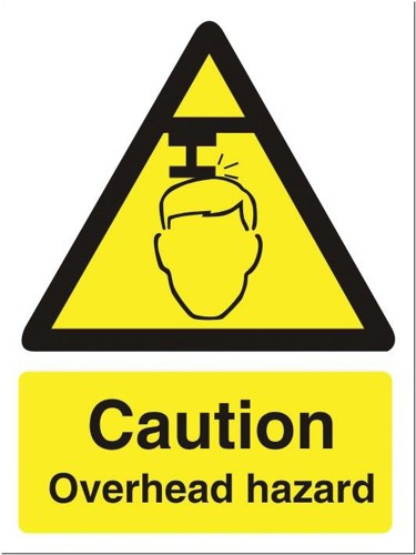 Stewart Superior Caution Overhead Hazzard Sign Self Adhesive Vinyl150x200mm Ref WO132SAV