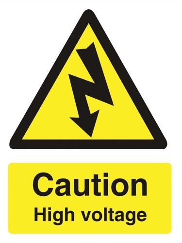 Stewart Superior Caution High Voltage Sign Self Adhesive Vinyl 150x200mm Ref WO137SAV
