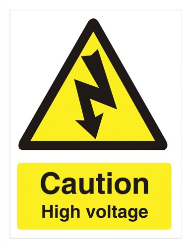 Stewart Superior Caution High Voltage Sign Self Adhesive PVC 150x200mm Ref WO137PVC