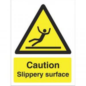 Stewart Superior Caution Slippery Surface Sign Self Adhesive Vinyl 150x200mm Ref WO134SAV