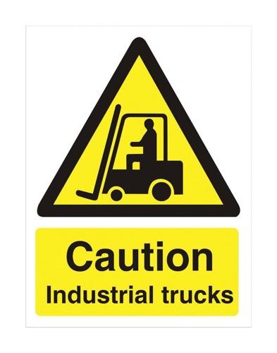 Stewart Superior Caution Industrial Trucks Sign Self Adhesive PVC 150x200mm Ref WO135PVC