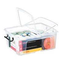 Strata Smart Box Clip-On Folding Lid Carry Handles 24 Litre Clear Code HW673CLR