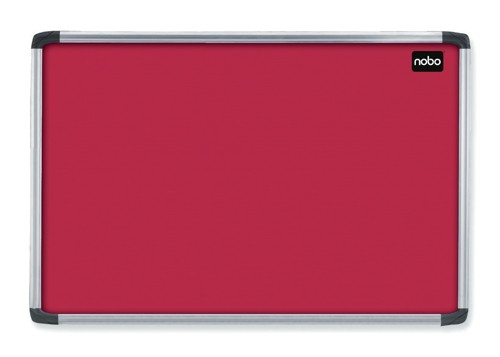 Nobo Euro Plus Noticeboard Felt with Fixings and Aluminium Frame W1226xH918mm Red Ref 30230192
