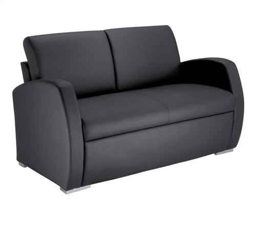 Influx Zee Reception Sofa Leather-look Back H400mm W1300xD720xH440mm Black