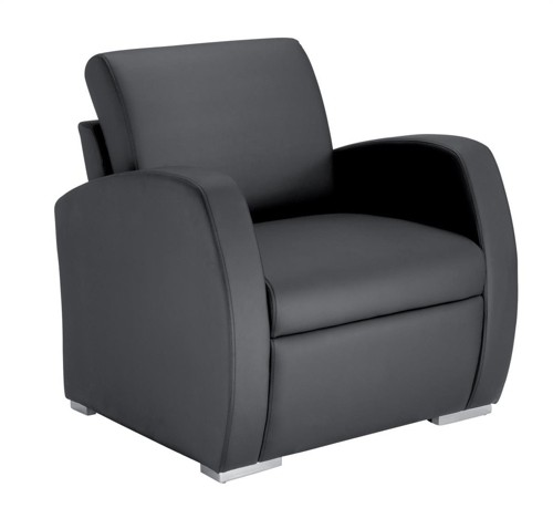 Influx Zee Reception Armchair Leather-look Back H400mm W760xD720xH440mm Black