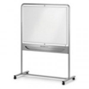 Nobo Mobile Whiteboard Easel Magnetic Steel Vertical Pivot W1200xH900mm Board Ref 190130