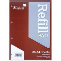 Silvine Refill Pad Headbound Perforated Punched Ruled 75gsm A4 Ref A4RPF [Pack 6]