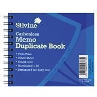 Silvine Twin Wire Carbonless Duplicate Memo Book Blue 730