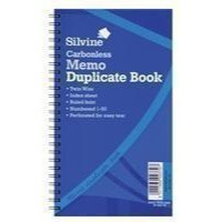 Silvine Twin Wire Carbonless Duplicate Memo Book Blue 731
