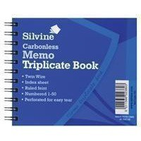 Silvine Twin Wire Carbonless Triplicate Memo Book Blue 732