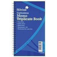 Silvine Twin Wire Carbonless Triplicate Memo Book Blue 733
