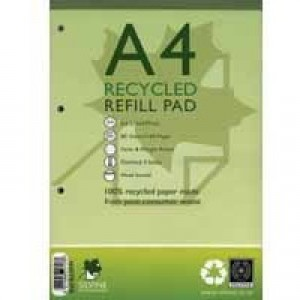 Silvine Everyday Refill Pad Recycled Wirebound Ruled Margin 160pp 70gsm A4 Ref RE4FM [Pack 6]