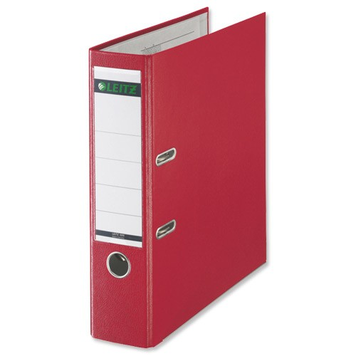 Leitz Lever Arch File Plastic 80mm Spine Foolscap Red Ref 11101025 [Pack 10]