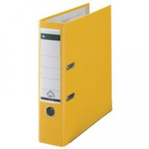 Leitz Lever Arch File Plastic 80mm Spine A4 Yellow
