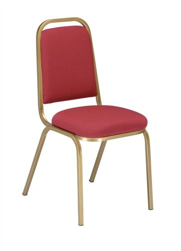 Trexus Banqueting Chair Upholstered Stackable Seat W390xD390xH460mm Burgundy with Gold Frame