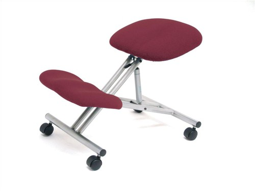 Trexus Kneeling Office Chair Steel Framed on Castors Gas Lift Seat H480-620mm Burgundy