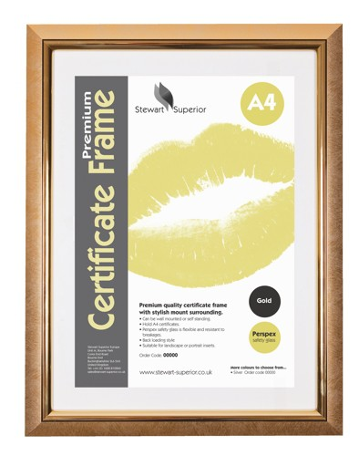 Deluxe Certificate Frame Non Glass Holds A4 Gold