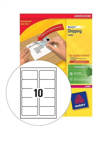 Avery BlockOut Shipping Labels Laser Jam-free 10 per Sheet 99.1x57mm Ref L7173B-100 [1000 Labels]