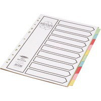 Concord Recycled Dividers 230 micron Board With Coloured Tabs 10-Part A4 White Code 48199