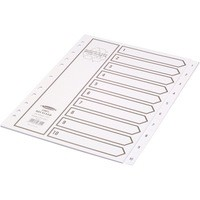 Concord Recycled Dividers 230 micron Card with Printed Tabs 1-10 A4 White Ref 48301