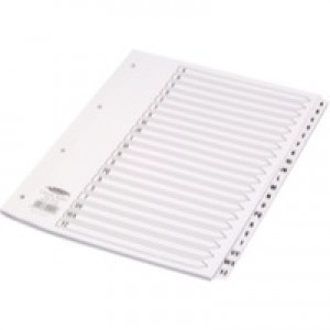 Concord Classic Index Mylar-reinforced Punched 4 Holes A-Z 20-Part A4 White Code 04001