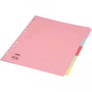 Concord Punched Pocket Subject Dividers Extra Wide 5-Part A4 Assorted Ref 71399