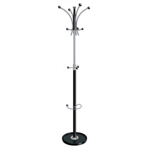 Coat Stand Classic Chrome & Plastic Large Pegs Weighted Base Grey