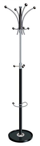 Coat Stand Classic Chrome & Plastic Large Pegs Weighted Base
