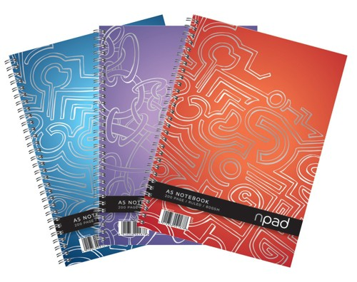 Oxford npad Modern Notebook Twin Wirebound Ruled Margin 2 Holes 200pp 80gsm A5+ Ref 100080213 [Pack 3]