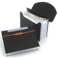 Rexel Optima Expanding Organiser File Polypropylene 13-Part Capacity 500 Sheets A4 Black Ref 2102483