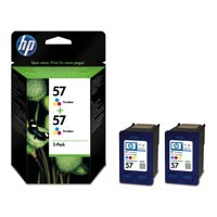 Hewlett Packard [HP] No. 57 Inkjet Cartridge Page Life 1000pp 17ml x 2 Colour Ref C9503ae [Pack 2]
