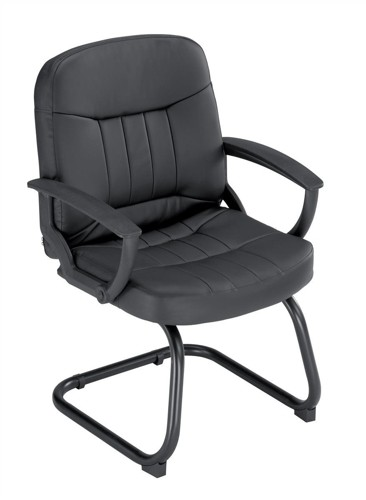 Trexus County Visitor Chair Leather Cantilever Back H620mm Seat W520xD480xH460mm Black