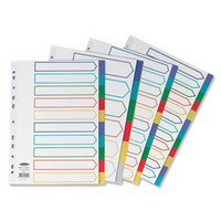 Concord Plastic Subject Dividers Polypropylene 120 Micron Europunched 5-Part A4 Assorted Ref 06801