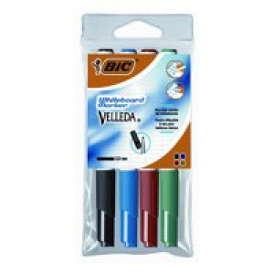 Bic Velleda 1741 Whiteboard Marker Bullet Tip Line Width 2mm Assorted Ref 1199001744 [Wallet 4]