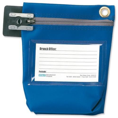 Versapak Cash Bag Tamper-Evident Zip Heavyweight Material Small W178xD50xH152mm Blue Ref CCB0-BLS