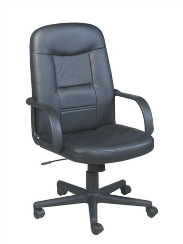 Trexus Intro Managers Armchair Leather Tilt Back H630mm Seat W640xD490x450-540mm Black