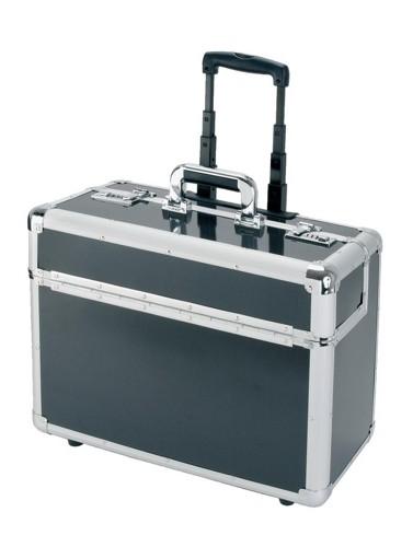 Alumaxx Trolley Pilot Case Laptop Compartment 2 Combination Locks Silver-Carbon Aluminium Ref 45129