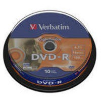 Verbatim DVD+R Recordable Disk Inkjet Printable Write-once Cased 16x 120min 4.7Gb Ref 43508 [Pack 10]