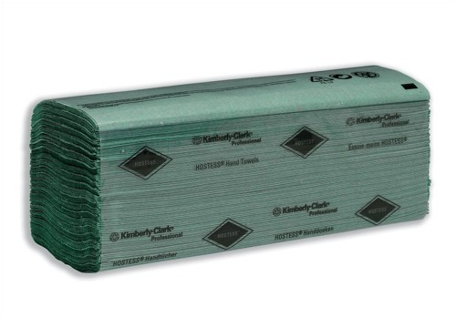Hostess Hand Towels Single Ply 224 Sheets per Sleeve 240x240mm Green Ref 6871 [24 Sleeves]