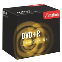 Imation DVD+R Recordable Disk Write-once Cased 16x Speed 120min 4.7GB Ref i21746 [Pack 10]