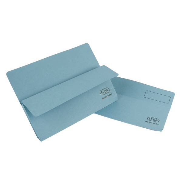 Elba Open Top Wallet Large Gussetted Capacity 38mm Foolscap Blue Ref 100090265 [Pack 50]